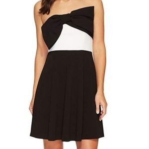 Glitz and Glamour strapless scuba dress with bow